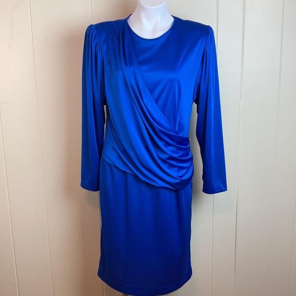 Vintage 70s 80s Draped Top Elegant Party Dress